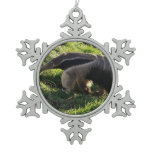Anteater Snowflake Pewter Christmas Ornament