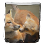 Red Fox Pair Drawstring Backpack