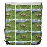 Sheep Family Drawstring Bag